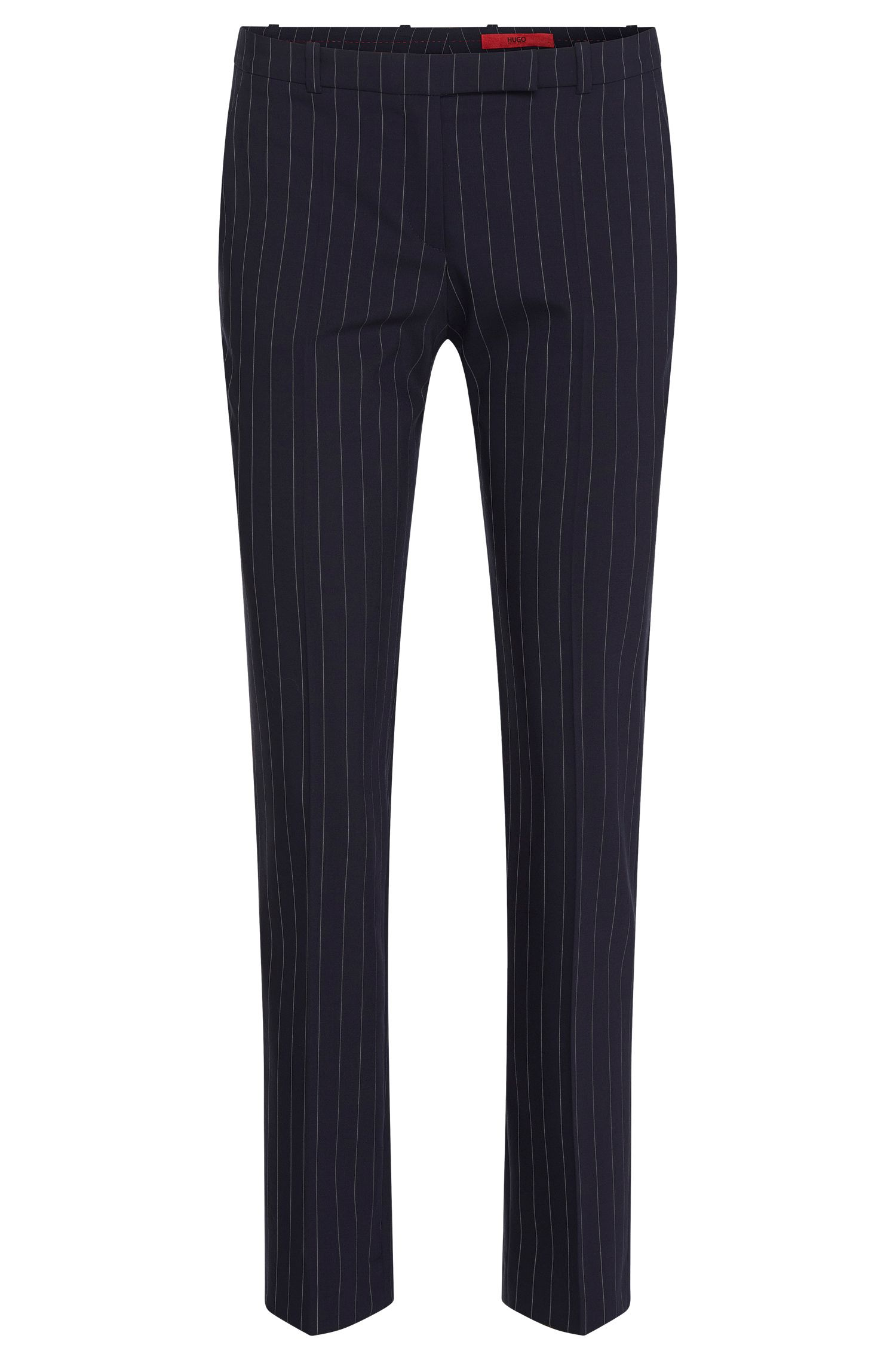 Finely striped slim-fit trousers in stretch new wool: 'Harile-3'