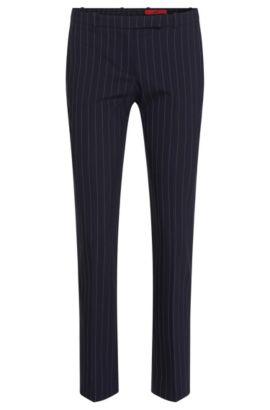 Pantalón de finas rayas slim fit en lana virgen elástica: 'Harile-3', Azul oscuro