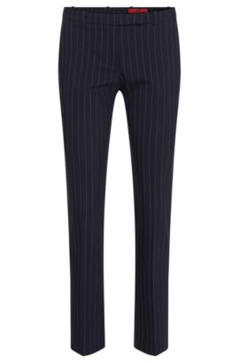 Finely striped slim-fit trousers in stretch new wool: 'Harile-3', Dark Blue