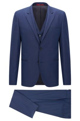 Slim-fit suit in textured new wool with waistcoat: 'Arvon/Wiant/Hilwert', Blue
