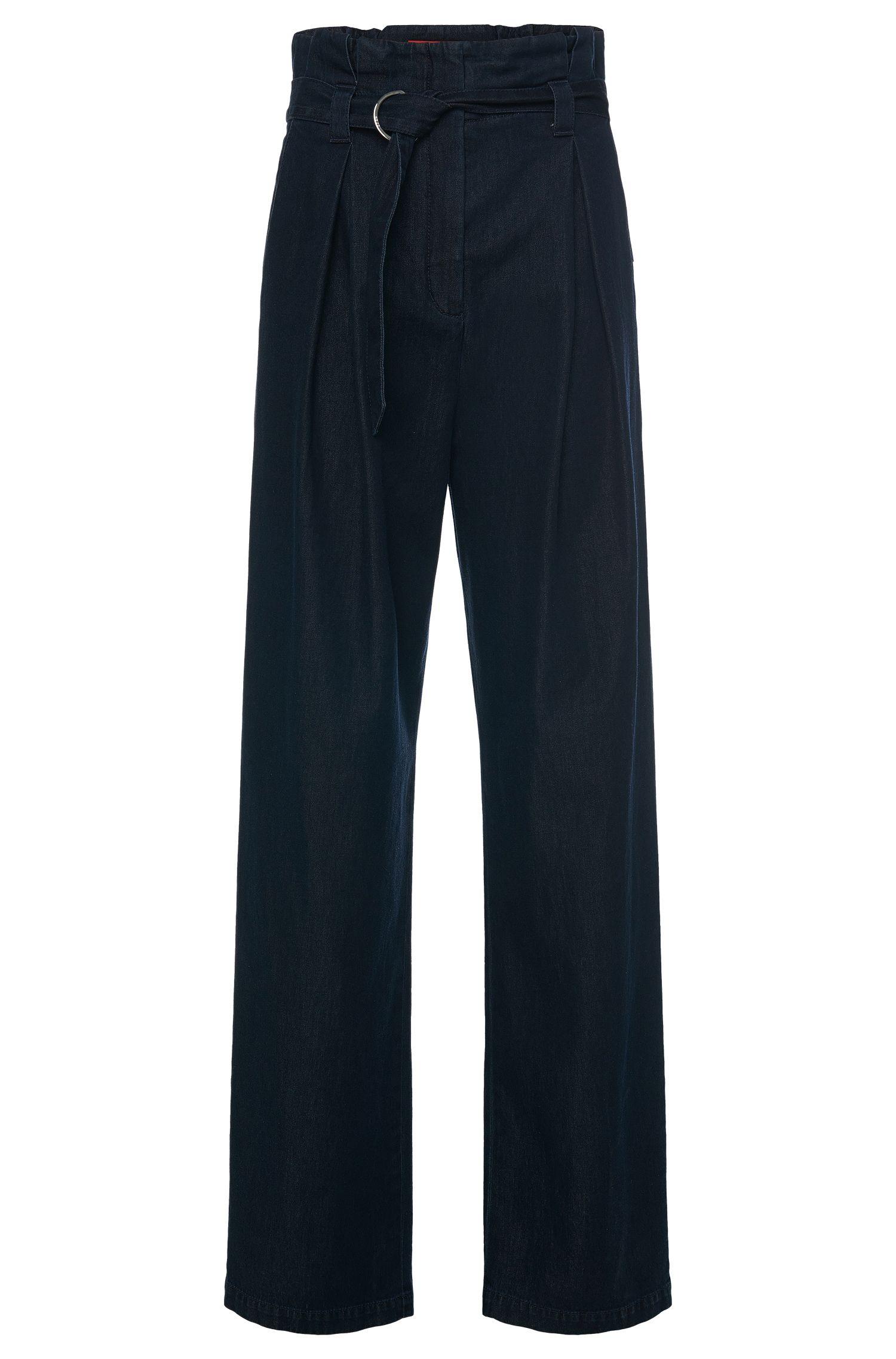 Pantalon en coton à taille haute, façon denim: «Hifes-W»