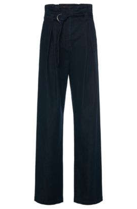 Pantaloni a vita alta in cotone con effetto denim: 'Hifes-W', Blu scuro