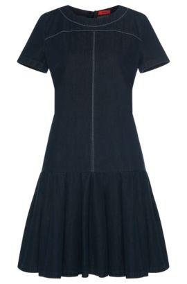 Robe en jean en coton dotée d'une jupe évasée: «Kiveri-W», Bleu foncé