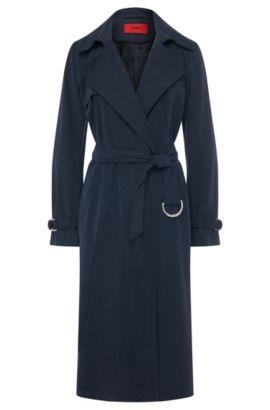 Abrigo largo con cinturón de anudar: 'Maliz', Azul oscuro