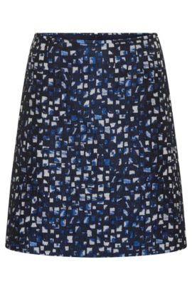 Skirt with textured all-over pattern: 'Relini-1', Open Blue