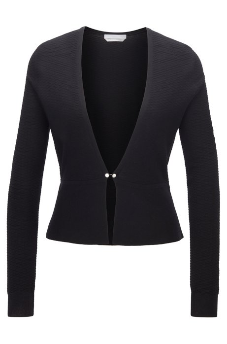 Slim-fit knitted cardigan in mercerised virgin wool with hardware closure, Black