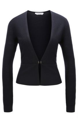 Fitted cardigan in textured new wool: 'Feline', Dark Blue