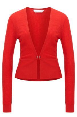 Veste en maille cintrée en laine vierge structurée: «Feline», Rouge
