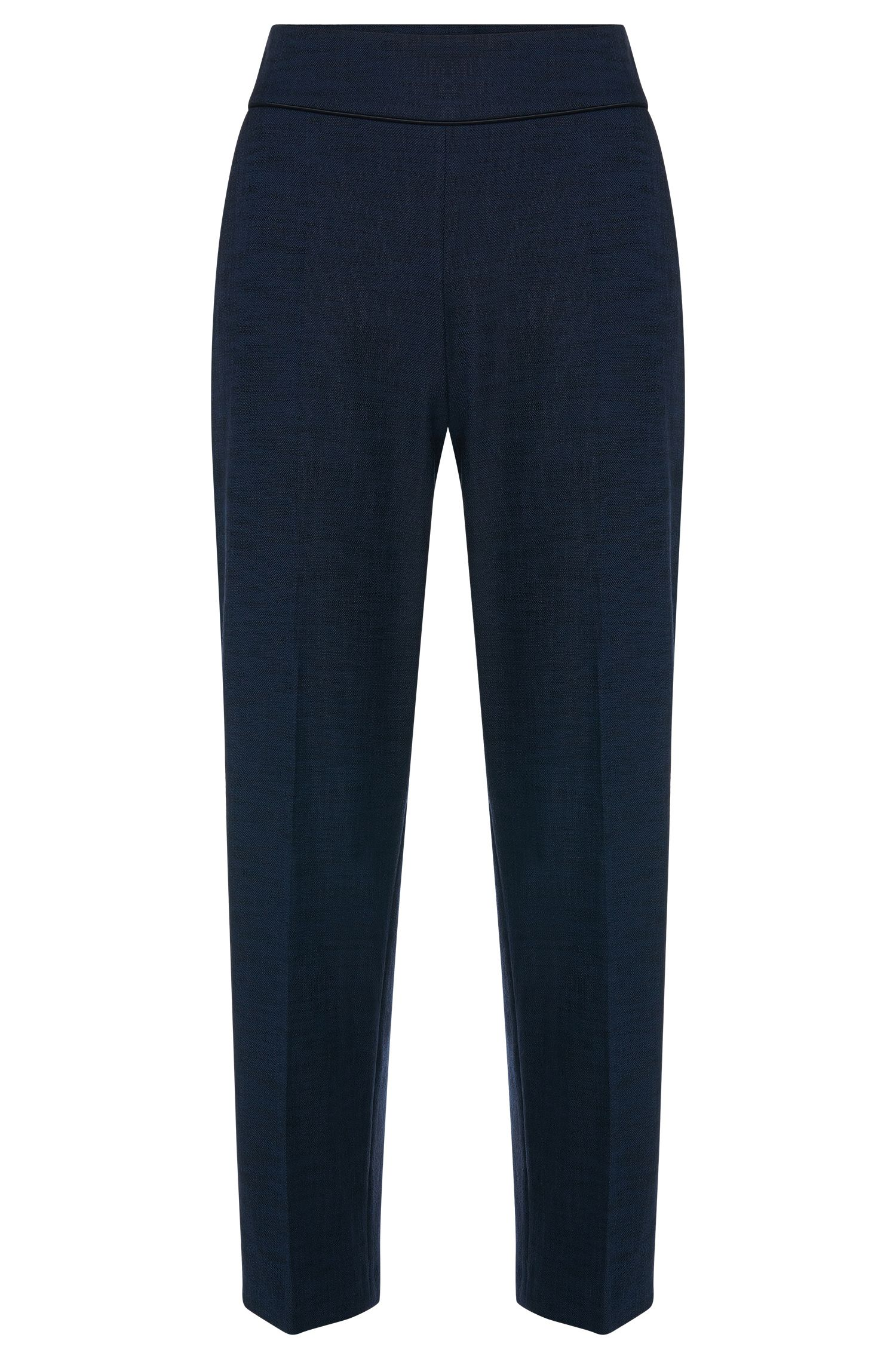 High-waisted trousers in stretchy cotton blend: 'Hababi'