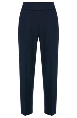 High-waisted trousers in stretchy cotton blend: 'Hababi', Open Blue