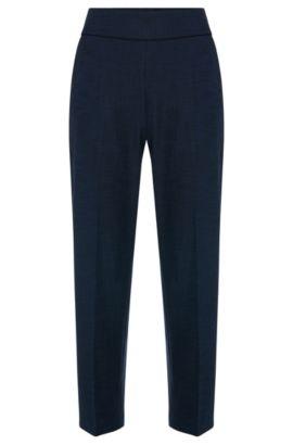 Pantalon à taille haute, en coton mélangé extensible: «Hababi», Bleu foncé