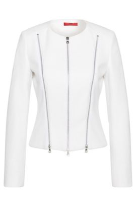 Blazer in a stretchy cotton blend in biker style: 'Alici', White