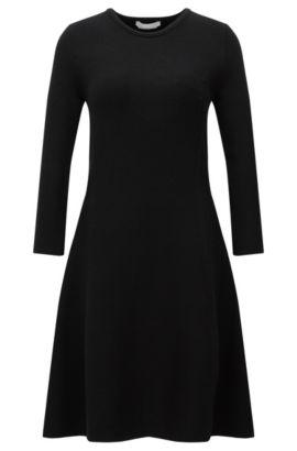 Uitlopende, gebreide jurk van een viscosemix: 'Francesca', Zwart