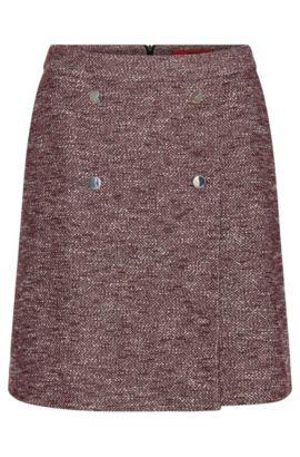 Skirt in a bouclé-look cotton blend: 'Risona', Purple