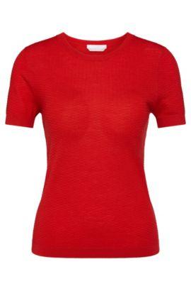 Gestructureerde trui van scheerwol met korte mouwen: 'Floraria', Rood