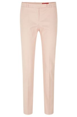 Finely patterned trousers in stretch cotton blend: 'Harile-3', Light Red