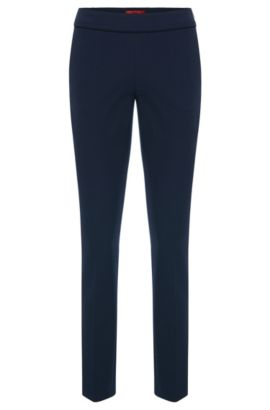 Textured trousers with pressed creases and an elastic waistband: 'Hinomi', Dark Blue