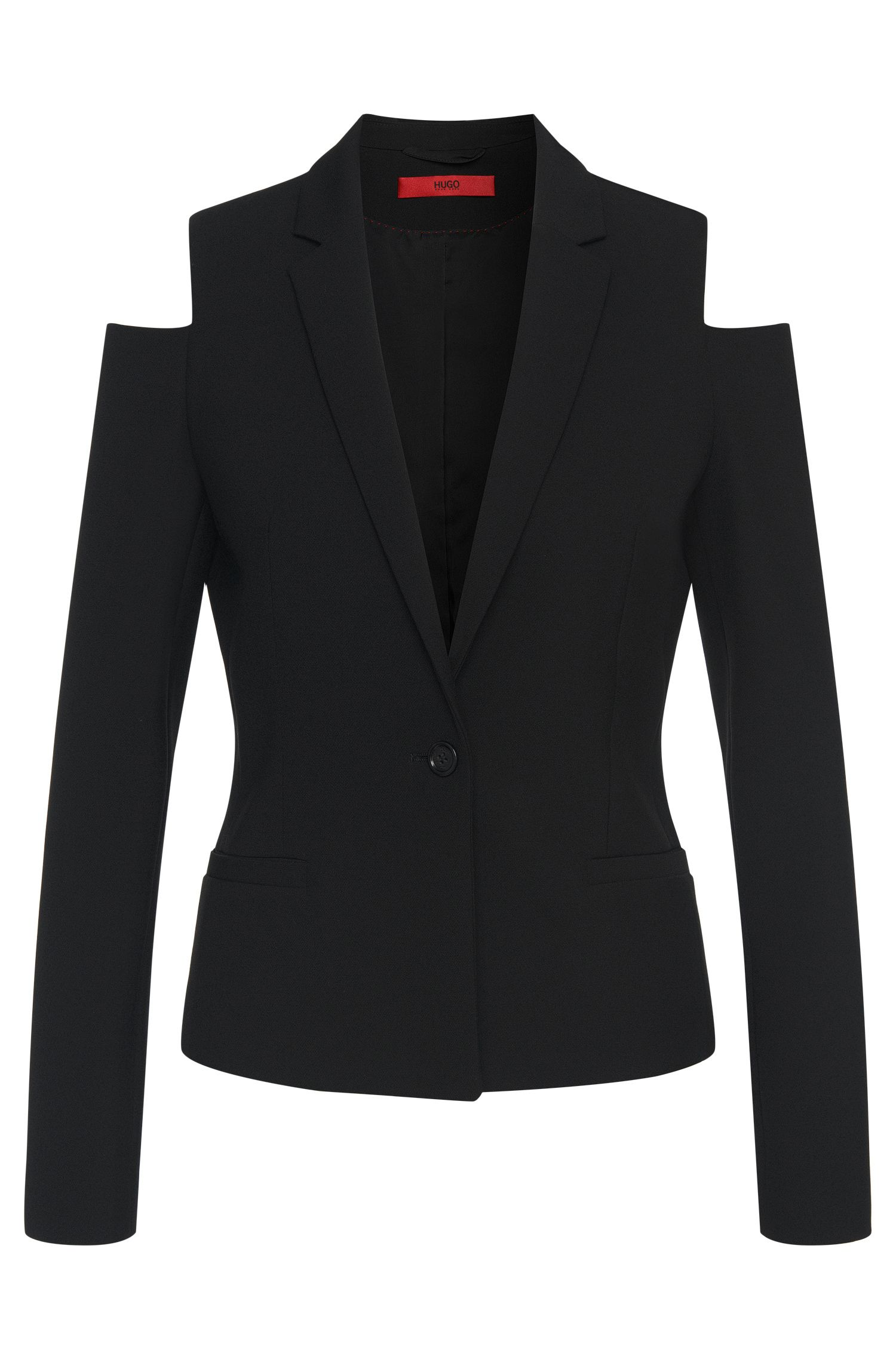 Fitted blazer with cutaway shoulder: 'Ankisa'