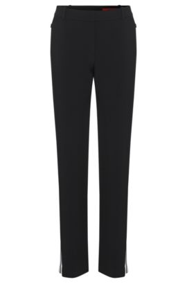 Trousers with contrasting colour trim: 'Haraya', Black