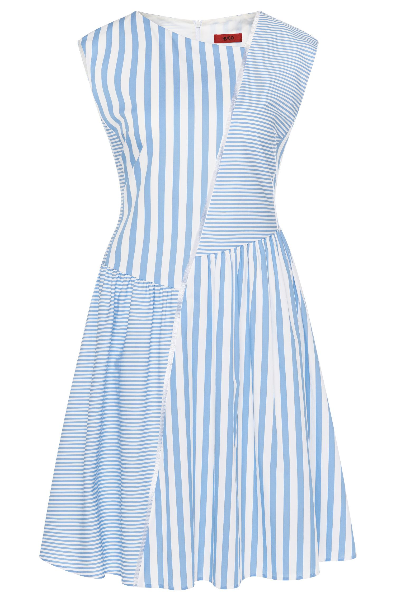 Striped dress in cotton with fringed trim: 'Kanah'