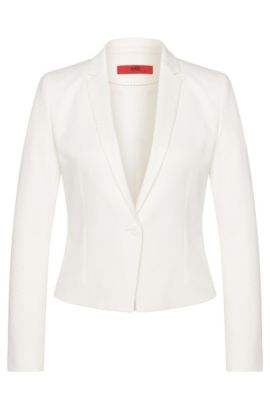 Fitted short blazer in stretchy cotton blend: 'Adiasa', Natural