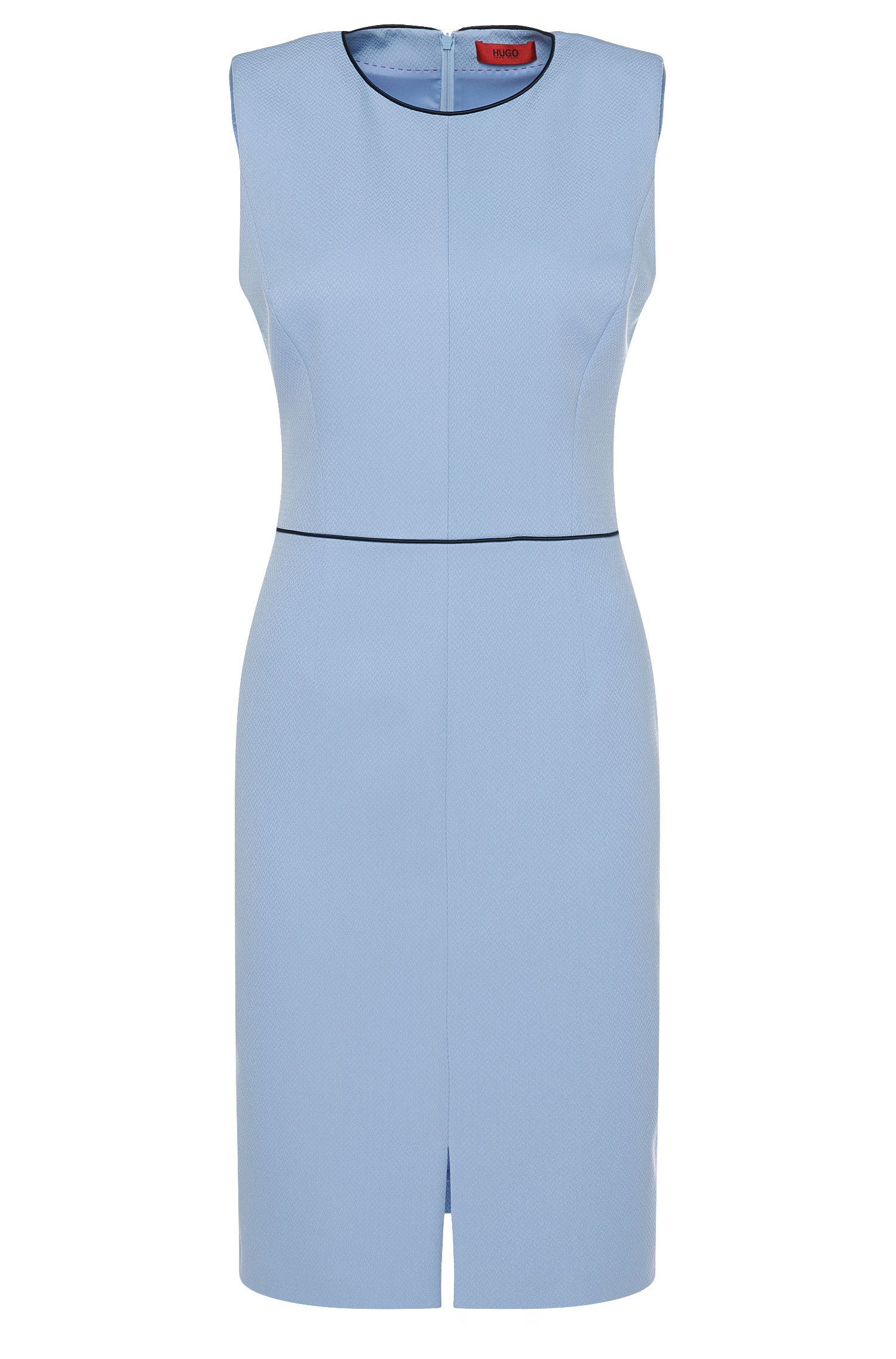 Fijngestructureerde etui-jurk met contrastkleurige paspels: 'Klenni-1'