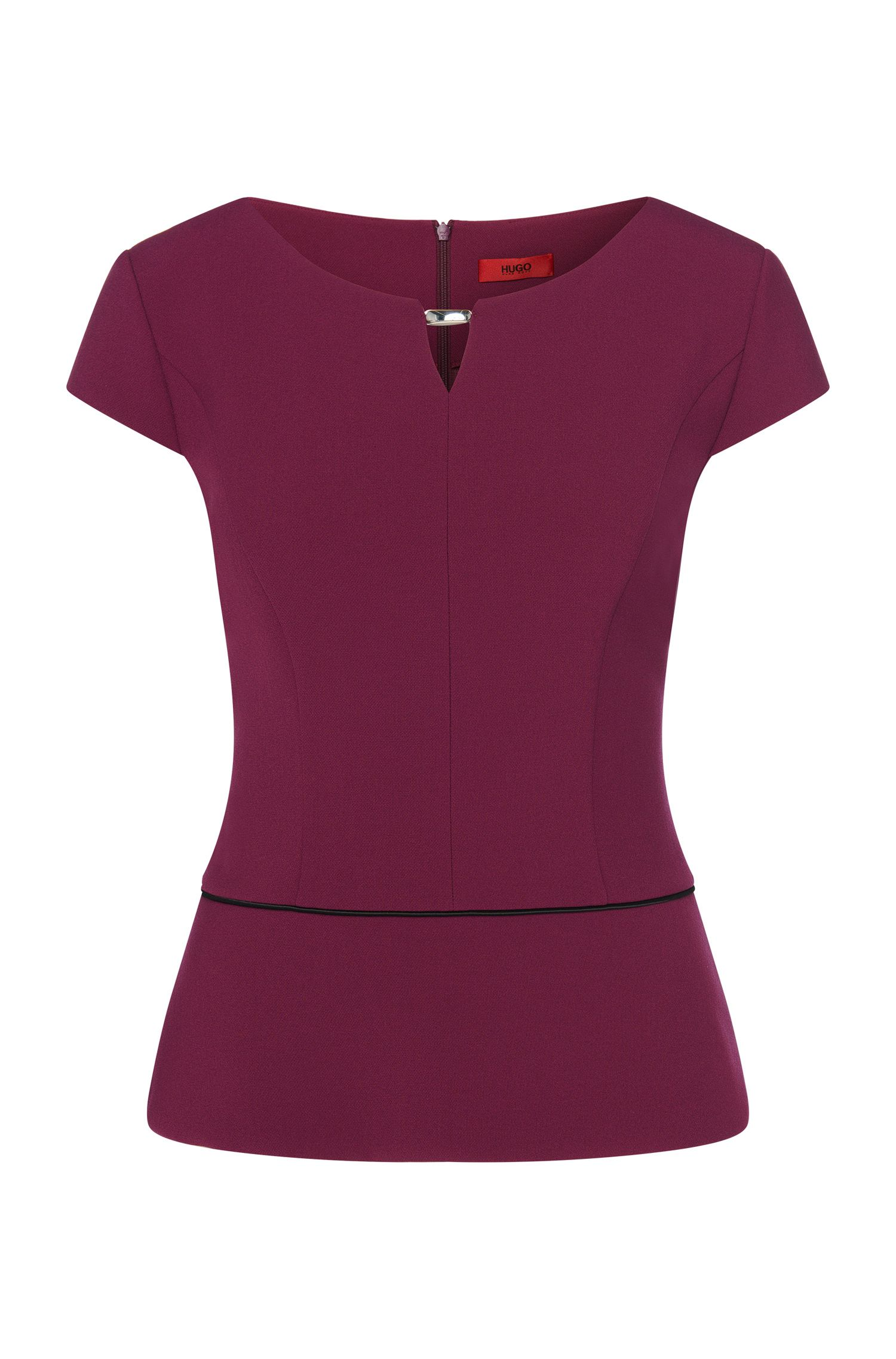 Fitted top with contrasting peplum: 'Cayena'