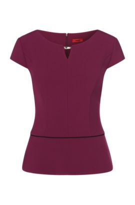Fitted top with contrasting peplum: 'Cayena', Purple