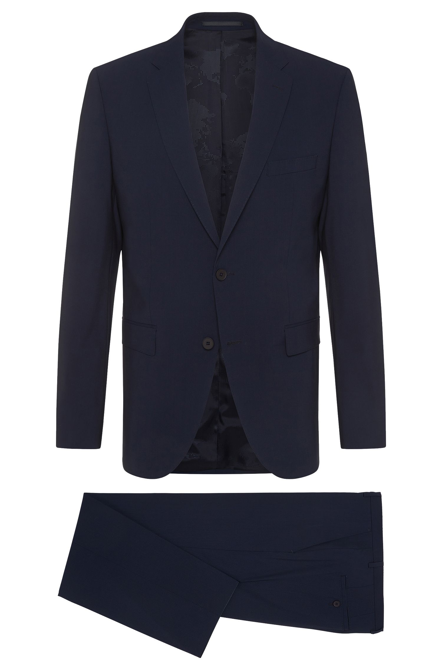 Regular-cut Travel Line suit in stretchy new wool blend: 'Jets2/Lenon'