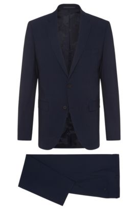 Regular-cut Travel Line suit in stretchy new wool blend: 'Jets2/Lenon', Dark Blue