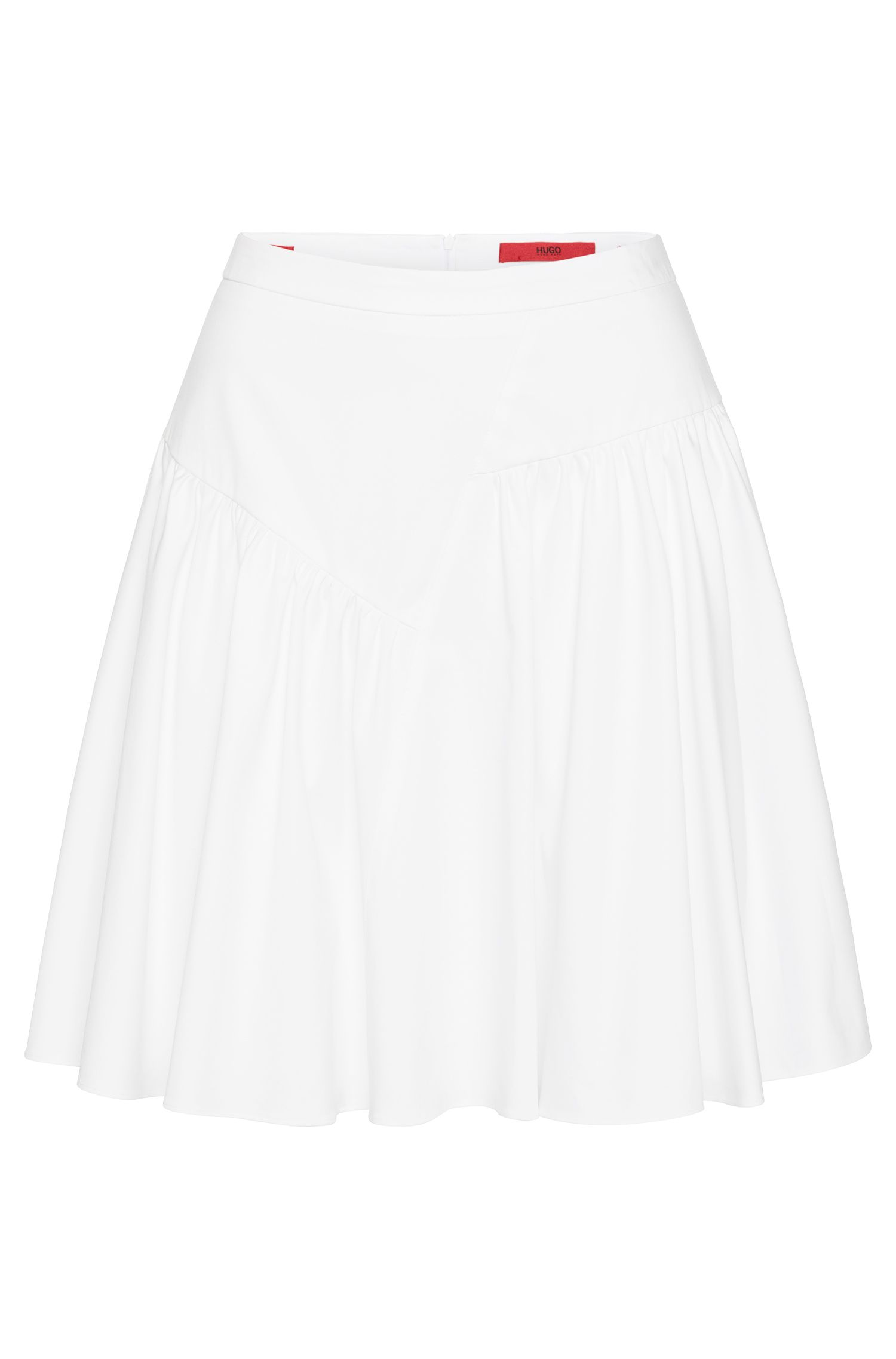 Skirt in stretch cotton with an asymmetric design: 'Romira'