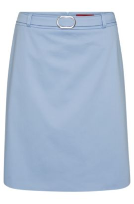 Slightly flared skirt in stretch cotton: 'Rumena', Light Blue