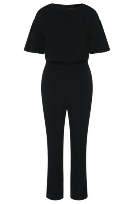 Jumpsuit with short trumpet sleeves: 'Kaire', Black