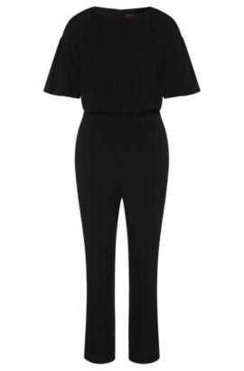 Jumpsuit with short trumpet sleeves: 'Kaire', Black
