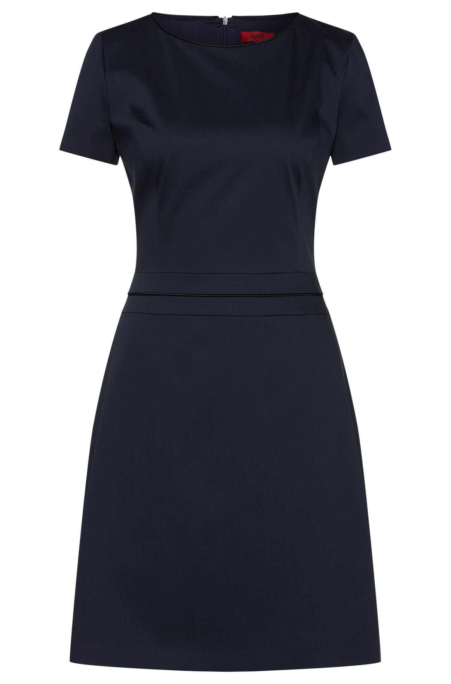 Short-sleeved dress in stretch cotton: 'Katniss'