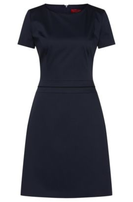 Short-sleeved dress in stretch cotton: 'Katniss', Dark Blue