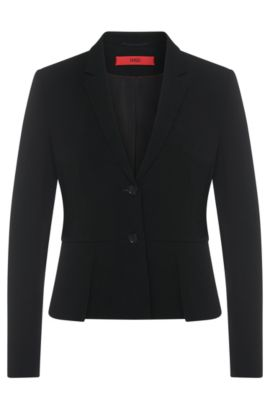 Fitted blazer with peplum: 'Asune', Black