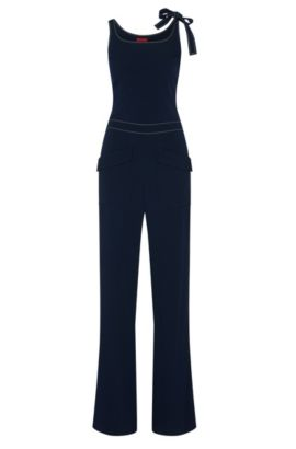 Jumpsuit with patch pockets: 'Kaguya', Dark Blue