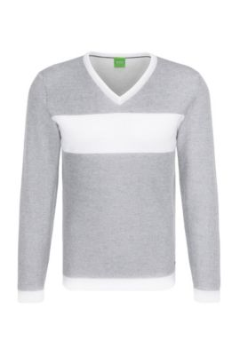 Slim-fit sweatshirt in cotton with horizontal stripes: 'Vams', Grey