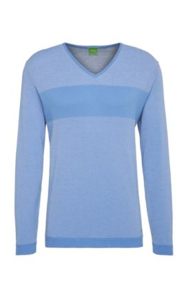 Sudadera slim fit en algodón con rayas horizontales: 'Vams', Azul