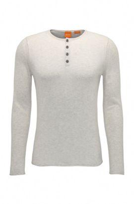 Slim-fit gebreide trui van katoen in henleystijl: 'Koastles', Lichtgrijs