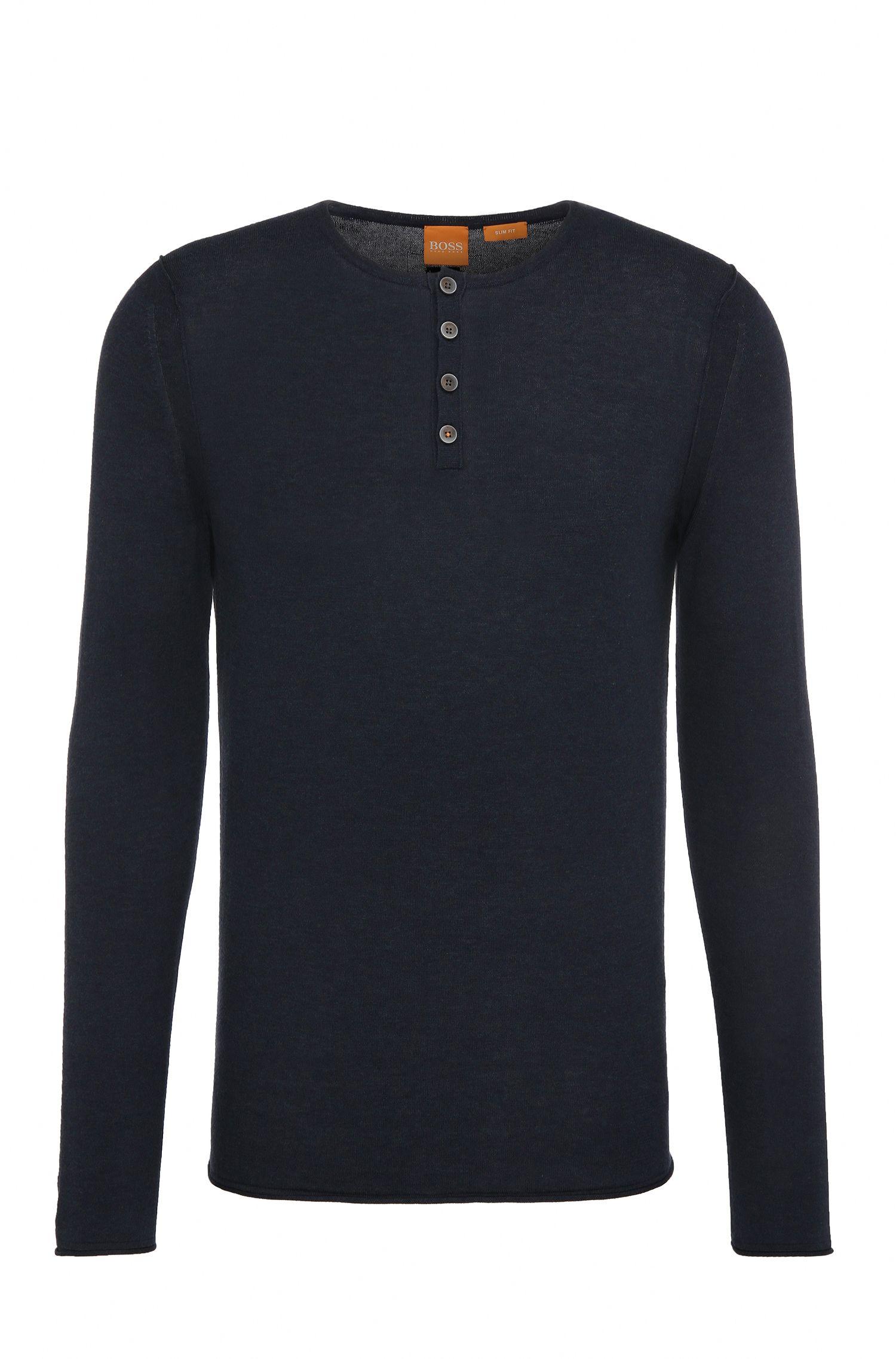 Pullover in maglia slim fit in cotone in stile serafino: 'Koastles'