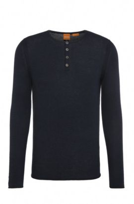Slim-fit knit sweater made from cotton in Henley style: 'Koastles', Dark Blue