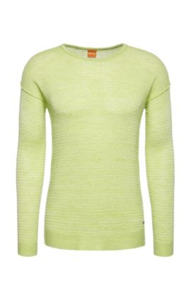 Knitted sweater in linen blend with cotton: 'Atounys', Light Yellow