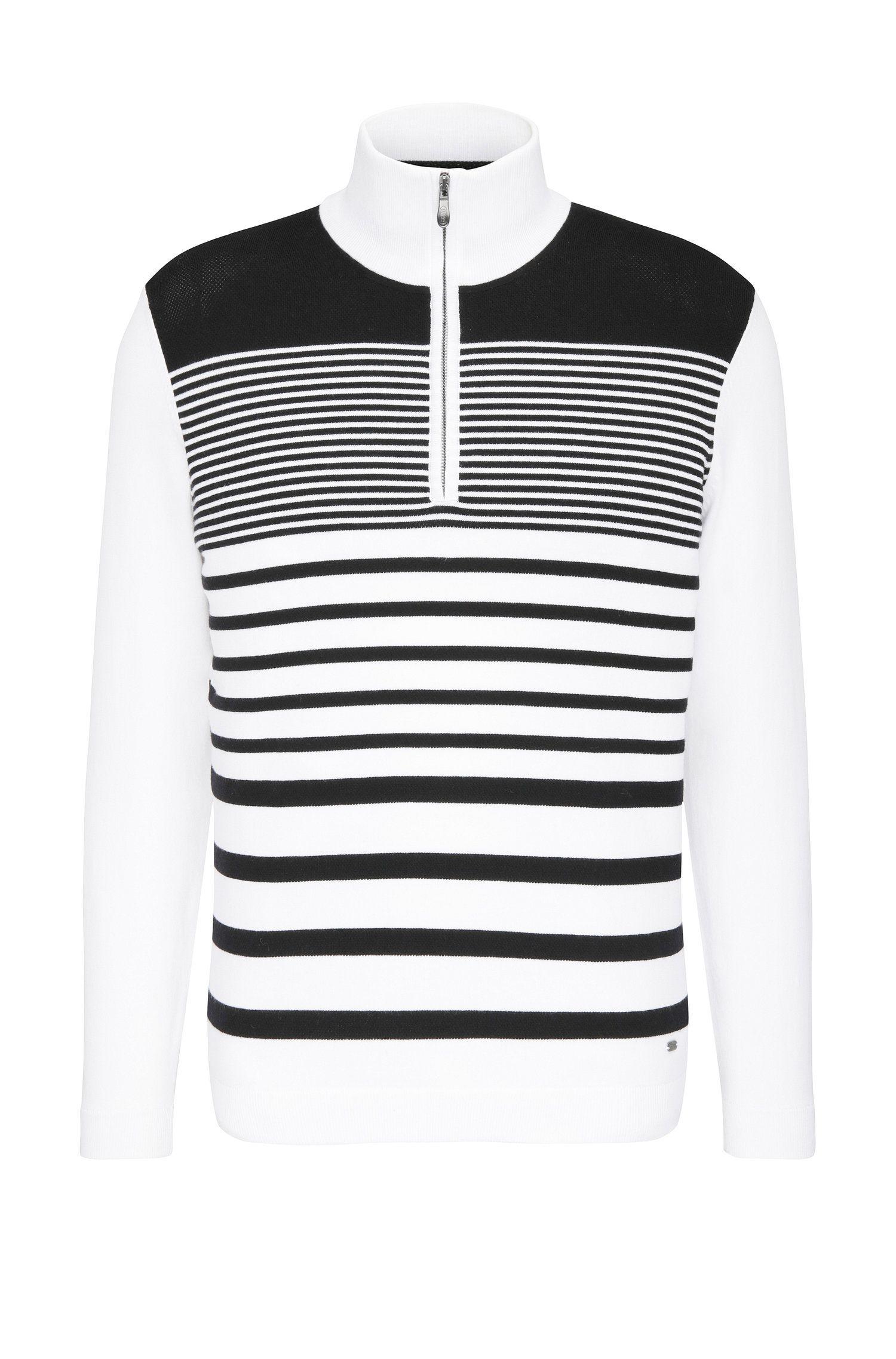 Slim-fit trui van een elastische katoenmix met streepdessin: 'Zoco'