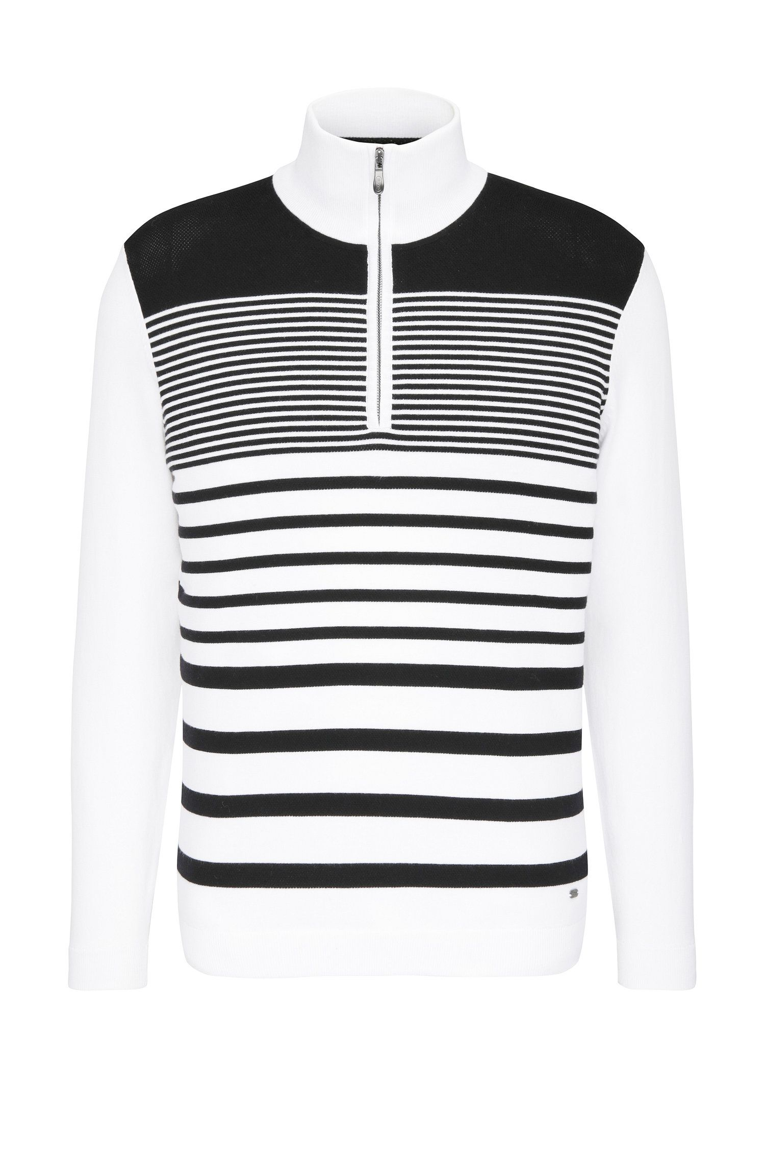 Striped slim-fit sweater in stretchy cotton blend: 'Zoco'