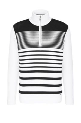 Striped slim-fit sweater in stretchy cotton blend: 'Zoco', White