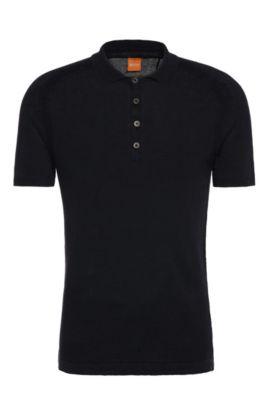 Overhemd van linnen in polostijl: 'Kostrien', Donkerblauw