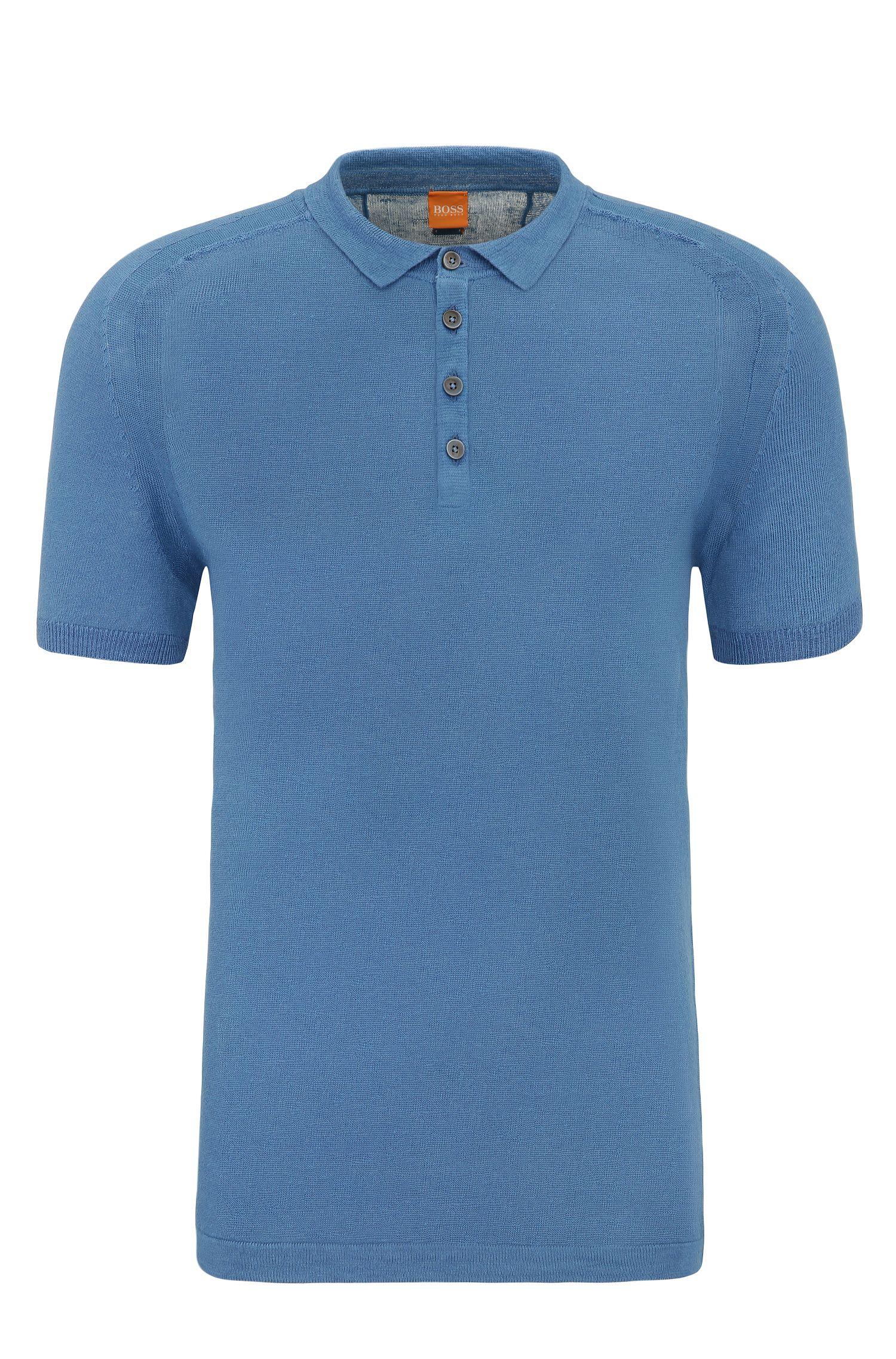 Linen shirt in polo style: 'Kostrien'