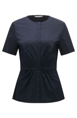 Fitted blouse in stretch cotton with pleat detail: 'Bitwisti-3', Dark Blue